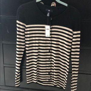 NWT Gap Black and Tan striped cardigan. XS